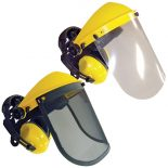 Jakmax Face Shield With Ear Muffs, Clear & Mesh Visors